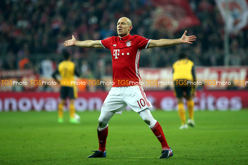 Arjen Robben celebrates scoring FC Bayern Munich's opening goal during FC Bayern Munich vs Arsenal, UEFA Champions League Football at the Allianz Arena on 15th February 2017