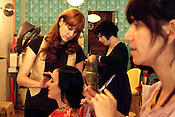 May 15, 2009. Chapel Hill, NC..Catlin Hestel, Karen Blanco and Julie Smith all converse with their clients at Moshi Moshi all the while prepping their hair for new styles.