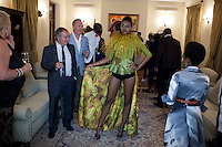 HARARE, ZIMBABWE - SEPTEMBER 24: Young designer show their collections during an installation fashion show at the South African ambassadors residence on September 24, 2014 in Harare, Zimbabwe. Local and African and based designers showed their collections during the 5th edition of Zimbabwe Fashion week (Photo by: Per-Anders Pettersson)