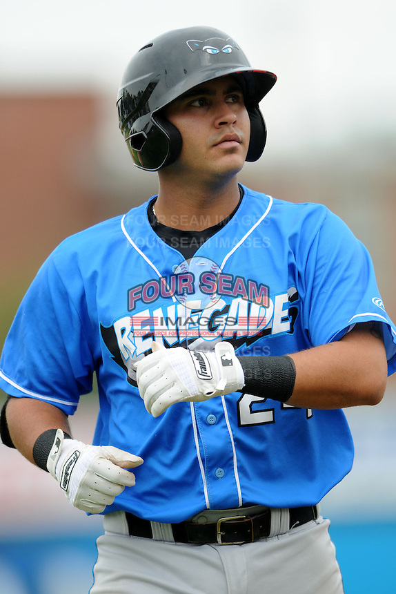 Hudson Valley Renegades catcher Omar Narvaez #24 during a game versus the Lowell Spinners at LeLacheur Park in Lowell, Massachusetts on August 18, 2013.  (Ken Babbitt/Four Seam Images)