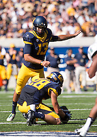 Saturday, September 7, 2013: Vincenzo D'Amato kicks for a field goal during a game against Portland State at Memorial Stadium, Berkeley, California -  California defeated Portland State 37 - 30