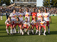 New York Red Bull Starting XI pose together for group photo before the game against Earthquakes at Buck Shaw Stadium in Santa Clara, California.  San Jose Earthquakes defeated New York Red Bulls, 4-0.