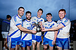 St Mary's five in row Captains who won the South Kerry Senior Football Championships pictured l-r; Bryan Sheehan(2014), Sean Cournane(2015), Aidan Walsh(2016), Conor O'Shea(2017) & Darragh O'Sullivan(2018).