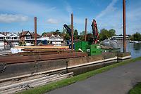 Henley on Thames. United Kingdom.   2018 Henley Royal Regatta, Henley Reach. <br />   <br /> Piling Equipment Moored, Course Construction<br /> <br /> Thursday  03/05/2018<br /> <br /> [Mandatory Credit: Peter SPURRIER:Intersport Images]<br /> <br /> LEICA CAMERA AG  LEICA Q (Typ 116)  f5.6  1/1250sec  35mm  42.5MB