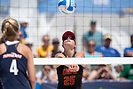 GULF SHORES, AL - MAY 07:  Jo Kremer (25) of USC hits the ball during the Division I Women's Beach Volleyball Championship held at Gulf Place on May 7, 2017 in Gulf Shores, Alabama.The University of Southern California defeated Pepperdine 3-2 to claim the national championship. (Photo by Stephen Nowland/NCAA Photos via Getty Images)
