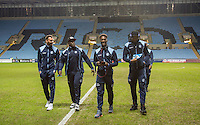 Wycombe players look over the pitch pre match ahead of the The Checkatrade Trophy - EFL Trophy Semi Final match between Coventry City and Wycombe Wanderers at the Ricoh Arena, Coventry, England on 7 February 2017. Photo by Andy Rowland.