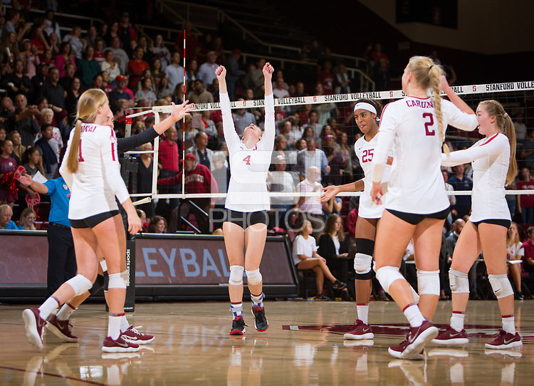 STANFORD, CA - October 12, 2018: Kate Formico, Meghan McClure, Courtney Bowen, Kathryn Plummer, Jenna Gray at Maples Pavilion. No. 2 Stanford Cardinal swept No. 21 Washington State Cougars, 25-15, 30-28, 25-12.