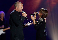 Biagio Antonaccio and Alessandra Amoroso performs during &quot;Pino &egrave;&quot; tribute concert at Pino Daniele, Italian singer dead in 2015,<br /> <br /> Naples 07 june 2018