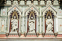 Statues of the Apostles and the  the fine Gothic architectural detail of  the  of the Gothic-Renaissance Duomo of Florence,  Basilica of Saint Mary of the Flower; Firenza ( Basilica di Santa Maria del Fiore ).  Built between 1293 & 1436. Italy