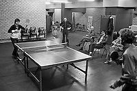 1978,Netherlands,ABN tennis Tournament, Rotterdam, Jimmy Connors (USA)plays tabletennis with the press.