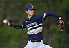 Mike Ahearne #14, Baldwin pitcher, delivers to the plate in the top of the second inning of a Nassau County varsity baseball game against host Plainview JFK High School on Monday, May 8, 2017. He went 6 2/3 innings and was the winning pitcher of record in Baldwin's 8-3 victory.