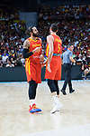 Ricky Rubio and Rudy Fernandez during Spain vs Dominican Republic friendly match in Madrid. August 22, 2019. (ALTERPHOTOS/Francis González)
