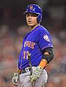 New York Mets shortstop Ruben Tejada (11) looks towards the dugout after being called out on strikes in the ninth inning against the Washington Nationals at Nationals Park in Washington, D.C. on Monday, July 20, 2015.  The Nationals won 7 - 2.<br /> Credit: Ron Sachs / CNP<br /> (RESTRICTION: NO New York or New Jersey Newspapers or newspapers within a 75 mile radius of New York City)