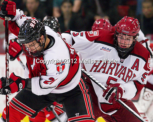 Mark McGowan (RPI - 21), Dan Ford (Harvard - 5) - The Harvard University Crimson defeated the visiting Rensselaer Polytechnic Institute Engineers 4-0 (EN) on Saturday, November 10, 2012, at Bright Hockey Center in Boston, Massachusetts.