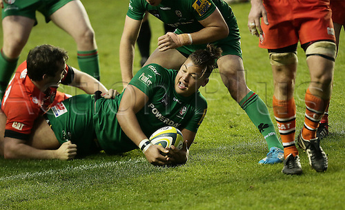 01.11.2014.  Reading, England.  LV Cup Rugby. London Irish versus Leicester Tigers. Guy Armitage scores for London Irish.