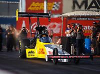 Feb 2, 2018; Chandler, AZ, USA; NHRA top fuel driver Richie Crampton during Nitro Spring Training pre season testing at Wild Horse Pass Motorsports Park. Mandatory Credit: Mark J. Rebilas-USA TODAY Sports