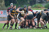 Shawn Stewart charges off the back of a scrum. Counties Manukau Premier Club Rugby game between Papakura & Bombay played at Massey Park Papakura on Saturday May 30th 2009..Bombay won 57 - 7 after leading 24 - 0 at halftime.