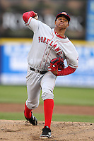 Portland Sea Dogs starting pitcher Stolmy Pimentel #32 delivers a pitch during a game against the Trenton Thunder at Waterfront Park on May 4, 2011 in Trenton, New Jersey.  Trenton defeated Portland by the score of 7-1.  Photo By Mike Janes/Four Seam Images