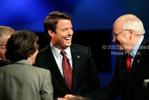 Cleveland, Ohio - October 5, 2004 -- United States Senator John Edwards (Democrat of North Carolina), the Democratic candidate for Vice President, left, shakes hands with his rival, United States Vice President Dick Cheney, the Republican nominee, right, following the first and only Vice Presidential debate held at Case Western Reserve University in Cleveland, Ohio on October 5, 2004...Credit: Jay L. Clendenin - Pool via CNP..