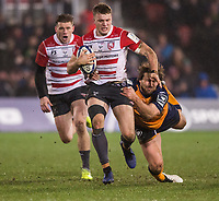 Gloucester's Ollie Thorley in action during todays match<br /> <br /> Photographer Bob Bradford/CameraSport<br /> <br /> European Rugby Heineken Champions Cup Group E - Gloucester v Montpellier Herault Rugby - Saturday 11th January 2020 - Kingsholm Stadium - Gloucester<br /> <br /> World Copyright © 2019 CameraSport. All rights reserved. 43 Linden Ave. Countesthorpe. Leicester. England. LE8 5PG - Tel: +44 (0) 116 277 4147 - admin@camerasport.com - www.camerasport.com