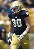 April 20, 2013: Notre Dame Fighting Irish outside linebacker Ben Councell (30) during the Notre Dame Blue-Gold Spring game at Notre Dame Stadium in South Bend, Indiana.  The Defense topped the Offense by a score of 54-43.