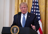 """United States President Donald J. Trump makes remarks on """"America's Environmental Leadership"""" in the East Room of the White House in Washington, DC on Monday, July 8, 2019. Photo Credit: Ron Sachs/CNP/AdMedia"""