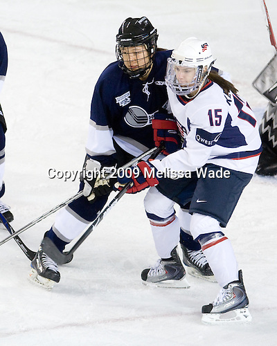 Amber Yung (HE/Providence - 23), Angie Keseley (USA/Wisconsin - 15) - The US Women's National Team defeated the Hockey East All-Stars 4-0 on Sunday, November 22, 2009, at the Whittemore Center in Durham, New Hampshire.