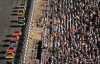 Jul. 5, 2008; Daytona Beach, FL, USA; NASCAR Sprint Cup Series driver Kyle Busch leads the field during the Coke Zero 400 at Daytona International Speedway. Mandatory Credit: Mark J. Rebilas-