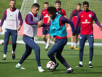 Chris Smalling and Nathaniel Chalobah during the part open training session of the  England national football squad at St George's Park, Burton-Upon-Trent, England on 31 August 2017. Photo by James Williamson.