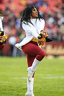 Landover, MD - December 9, 2018: Washington Redskins cheerleader performs during the  game between New York Giants and Washington Redskins at FedEx Field in Landover, MD.   (Photo by Elliott Brown/Media Images International)