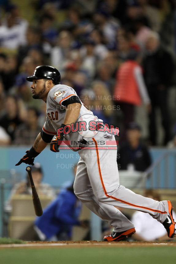 Melky Cabrera #53 of the San Francisco Giants bats against the Los Angeles Dodgers at Dodger Stadium on May 9, 2012 in Los Angeles,California. Los Angeles defeated San Francisco 6-2. (Larry Goren/Four Seam Images)