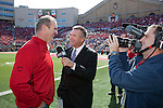 Big Ten Network sideline report Jay Wilson interview former Wisconsin Badgers lineman Paul Gruber during the Wisconsin Badgers NCAA college football game against the Austin Peay Governors on September 25, 2010 in Madison, Wisconsin. The Badgers beat the Governors 70-3. (Photo by David Stluka)