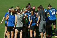 Kansas City, MO - Saturday May 13, 2017:  FC Kansas City huddle after halftime during a regular season National Women's Soccer League (NWSL) match between FC Kansas City and the Portland Thorns FC at Children's Mercy Victory Field.
