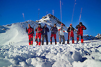 Fulpmes, Stubaital, Tirol, Austria, January 2006. Rescuers are sounding the snow with long poles for victims during a training exercize. The Bergrettung Tyrol mountain rescue teams have to respond to avalanches within 30 minutes if the victims are to have any chance of surviving. photo by Frits Meyst/Adventure4ever.com