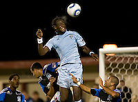 Kei Kamara of Kansas City controls the ball in the air during the game at Buck Shaw Stadium in Santa Clara. California on October 1st, 2011.  San Jose Earthquakes tied Sporting Kansas City, 1-1.