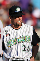 August 17 2008:  Manager Aaron Nieckula of the Kane County Cougars, Class-A affiliate of the Oakland Athletics, during a game at Philip B. Elfstrom Stadium in Geneva, IL.  Photo by:  Mike Janes/Four Seam Images