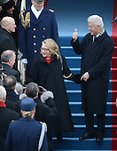 Former President Bill Clinton and Secretry of State Hillary Clinton arrive for U.S. President Barack Obama to be sworn-in for a second term as the President of the United States by Supreme Court Chief Justice John Roberts during his public inauguration ceremony at the U.S. Capitol Building in Washington, D.C. on January 21, 2013. .Credit: Pat Benic / Pool via CNP