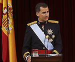 Coronation ceremony in Madrid. King Felipe VI of Spain at Congreso de los Diputados. June 19 ,2014. (ALTERPHOTOS/EFE/Pool)