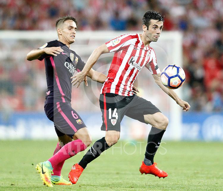 Athletic de Bilbao's Markel Susaeta (r) and FC Barcelona's Denis Suarez during La Liga match. August 28,2016. (ALTERPHOTOS/Acero)