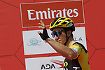 Dylan Groenewegen (NED) Team Jumbo-Visma at sign on before Stage 1 of the UAE Tour 2020 running 148km from The Pointe to Dubai Silicon Oasis, Dubai. 23rd February 2020.<br /> Picture: LaPresse/Massimo Paolone | Cyclefile<br /> <br /> All photos usage must carry mandatory copyright credit (© Cyclefile | LaPresse/Massimo Paolone)