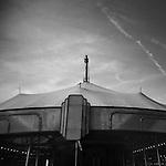 Monochrome Holga carnival image of carousel top