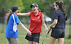 Jessica Tucciarone of St. John the Baptist, center, hugs Ashley Harding of Kellenberg, left, and Caroline Smolensky of St. Anthony's after their round at Eisenhower Park's Blue Course in the Nassau-Suffolk CHSAA girls golf championship on Tuesday, May 16, 2017.