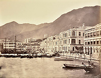 BNPS.co.uk (01202 558833)<br /> Pic: DominicWinterAuction/BNPS<br /> <br /> The seafront of Hong Kong island.<br /> <br /> Revealed - A fascinating photo album from the very early days of British Hong Kong...long before the skyscrapers covered it over.<br /> <br /> The 150 year old photos of Hong Kong taken by one of the first British photographers to venture to the Far East have emerged for sale for £15,000.<br /> <br /> John Thomson, who was also a geographer, left Edinburgh for Singapore in 1862 and spent the following decade travelling the region.<br /> <br /> He explored a decidely low-rise Hong Kong from 1868 to 1870, taking numerous pictures of the rapidly expanding settlement and its industrious inhabitants.<br /> <br /> They capture the area, which is currently engulfed in unrest and protest, at a far more tranquil time.<br /> <br /> The photos are being sold with auction house Dominic Winter, of Cirencester, Gloucs.