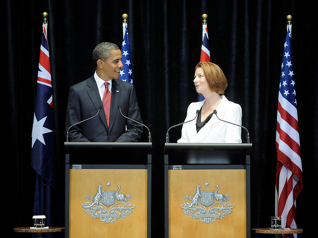 U.S. President Barack Obama speaks during a press conference with Australian Prime Minister Julia Gillard at Parliament House, Canberra, Australia, on Wednesday, November 16th, 2011. Photographer: Mark Graham/Bloomberg