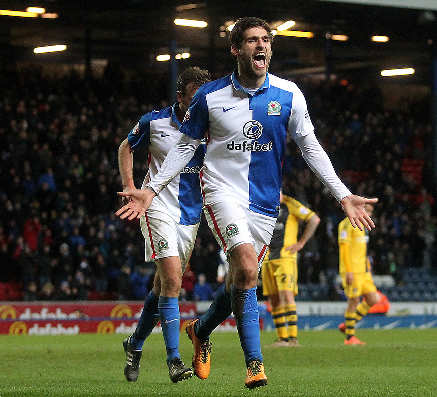 Blackburn Rovers Danny Graham celebrates scoring his sides third goal <br />
