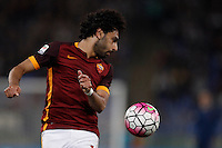 Calcio, Serie A: Roma vs Bologna. Roma, stadio Olimpico, 11 aprile 2016.<br /> Roma&rsquo;s Mohamed Salah in action during the Italian Serie A football match between Roma and Bologna at Rome's Olympic stadium, 11 April 2016.<br /> UPDATE IMAGES PRESS/Isabella Bonotto