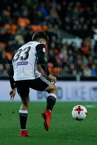 9th January 2018, Mestalla Stadium, Valencia, Spain; Copa del Rey football, round of 16, second leg, Valencia versus Las Palmas; Ferran Torres for Valencia CF controls a ball during the game