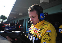 Nov. 21, 2009; Homestead, FL, USA; NASCAR Sprint Cup Series crew chief Todd Berrier during practice for the Ford 400 at Homestead Miami Speedway. Mandatory Credit: Mark J. Rebilas-