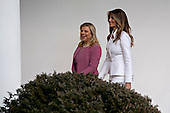 U.S. First Lady Melania Trump, right, walks with Sara Netanyahu, wife of Israeli Prime Minister Benjamin Netanyahu, through the Colonnade of the White House towards the Oval Office in Washington, D.C., U.S., on Wednesday, Feb. 15, 2017. Netanyahu is trying to recalibrate ties with Israel's top ally after eight years of high-profile clashes with former President Barack Obama, in part over Israel's policies toward the Palestinians. <br /> Credit: Andrew Harrer / Pool via CNP