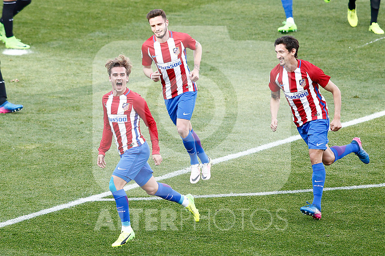 Atletico de Madrid's Antoine Griezmann, Saul Niguez and Stefan Savic celebrate goal during La Liga match. March 19,2017. (ALTERPHOTOS/Acero)